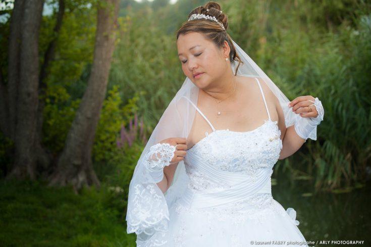 photo de la mariée pour son mariage à Sainte Hélène du lac
