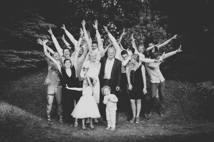 photo de groupe et photo de famille en noir et blanc