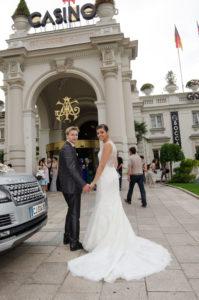 direction la Casino Grand Cercle d'Aix-les-Bains après le mariage à Chambéry