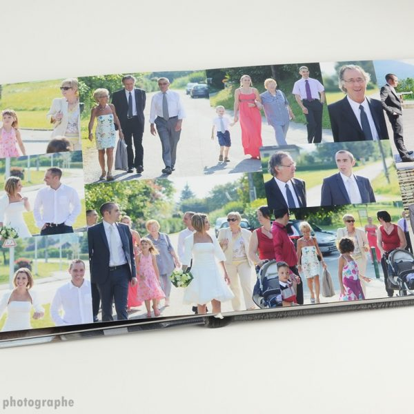 album de mariage : les familles se rendent à la cérémonie