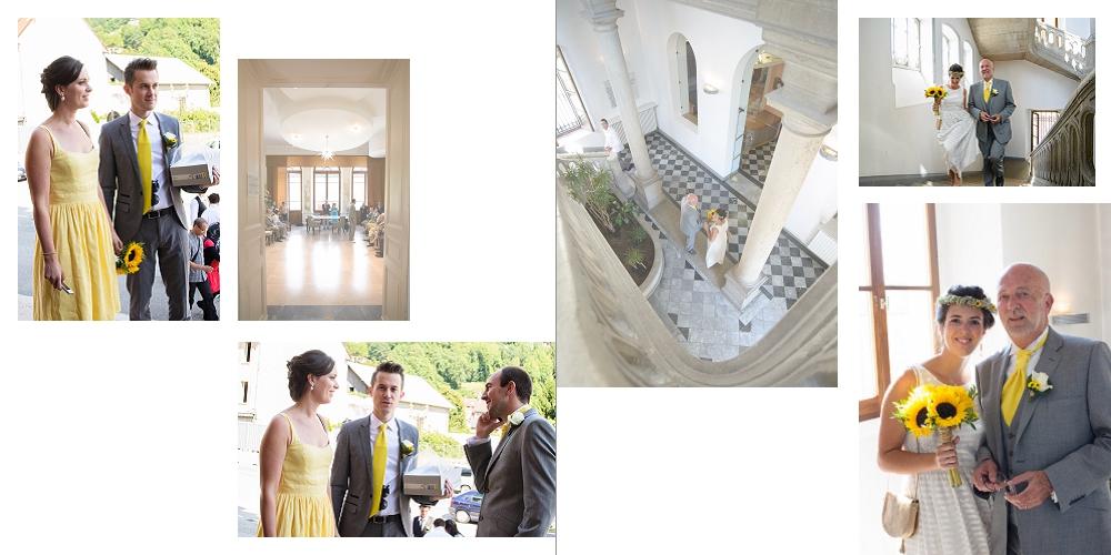 Album de mariage à Albertville : arrivée des mariés à la mairie pour leur cérémonie civile