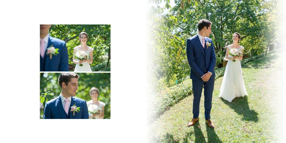 mariage à Gilly-sur-Isère et Cruet : premier regard entre les mariés dans le jardin familial